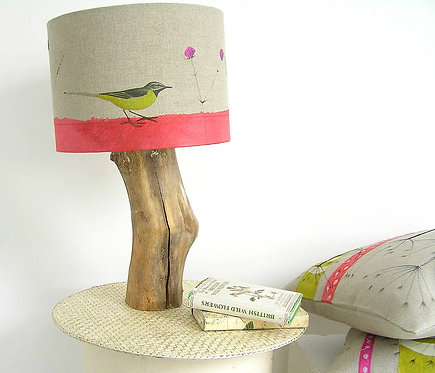 Yellow Wagtail and Wildflower Lampshade and Base