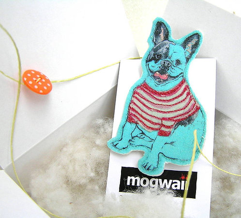 Turquoise Frenchie Embroidered Brooch