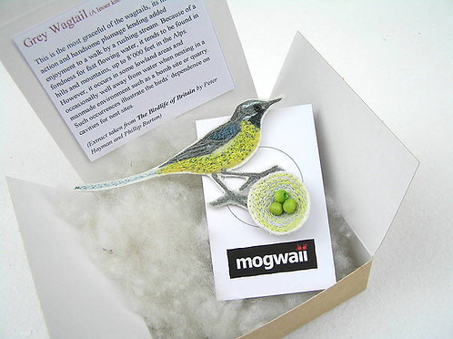 Wagtail and Nest Brooch