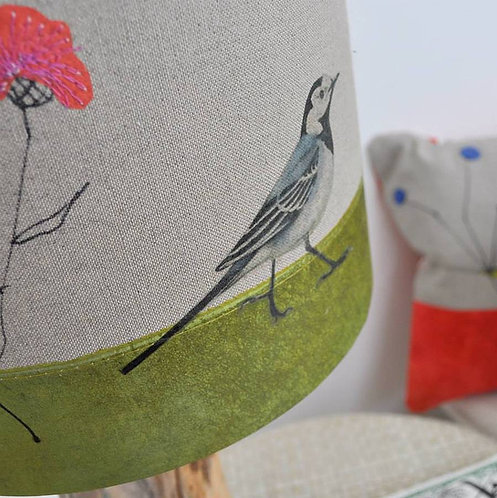 Pied Wagtail and Knap Weed Linen Lampshade