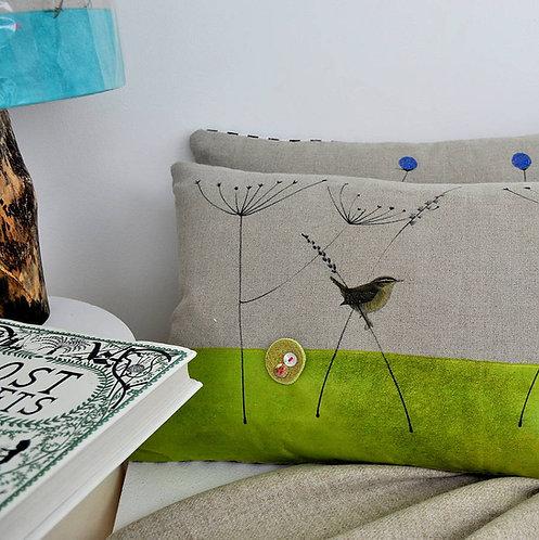 Wren and Nest Cushion
