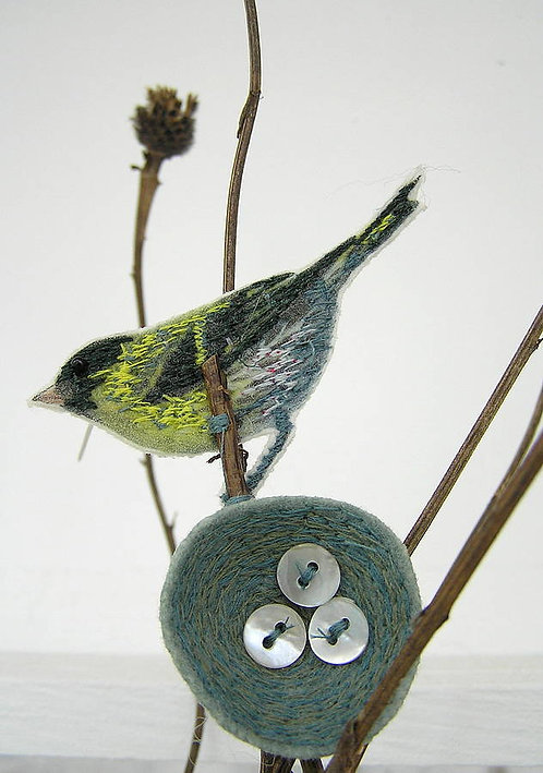 Siskin and Nest Brooch