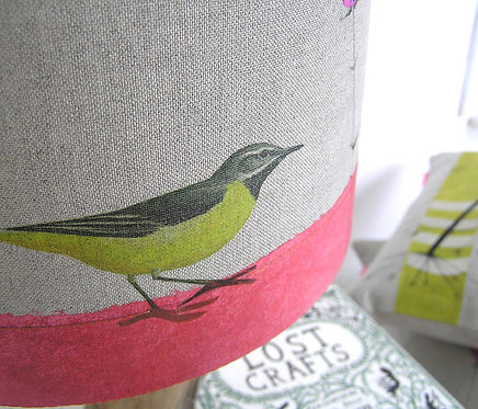 Yellow Wagtail and Scabious Linen Lampshade