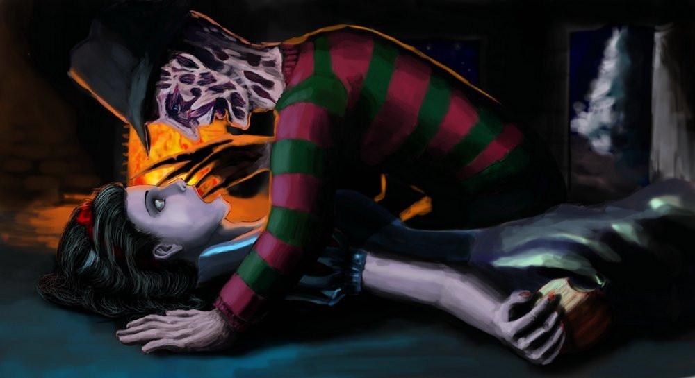 Freddy Kreuger makes sweet love to a female dreamer