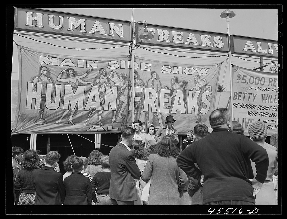 The Coney Island freak show, pictured in 1941