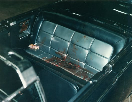 Archive photo of the blood splattered Presidential limousine after Kennedy was shot