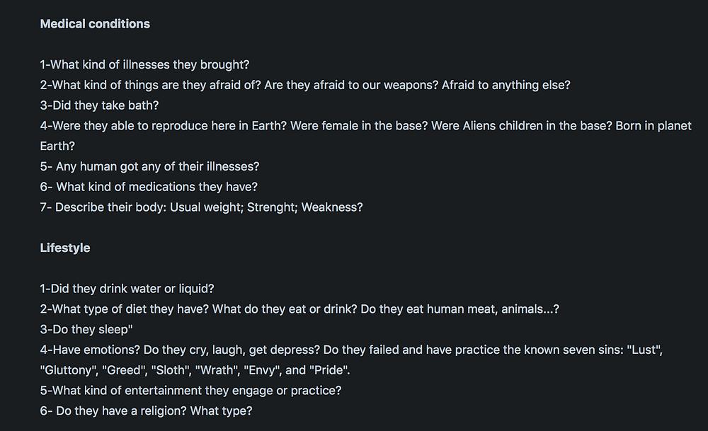 alien questions
