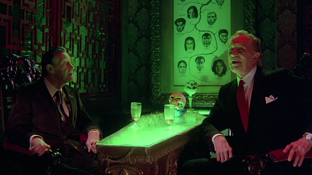Carradine and Price have a natter about ghosts and ghouls at The Monster Club