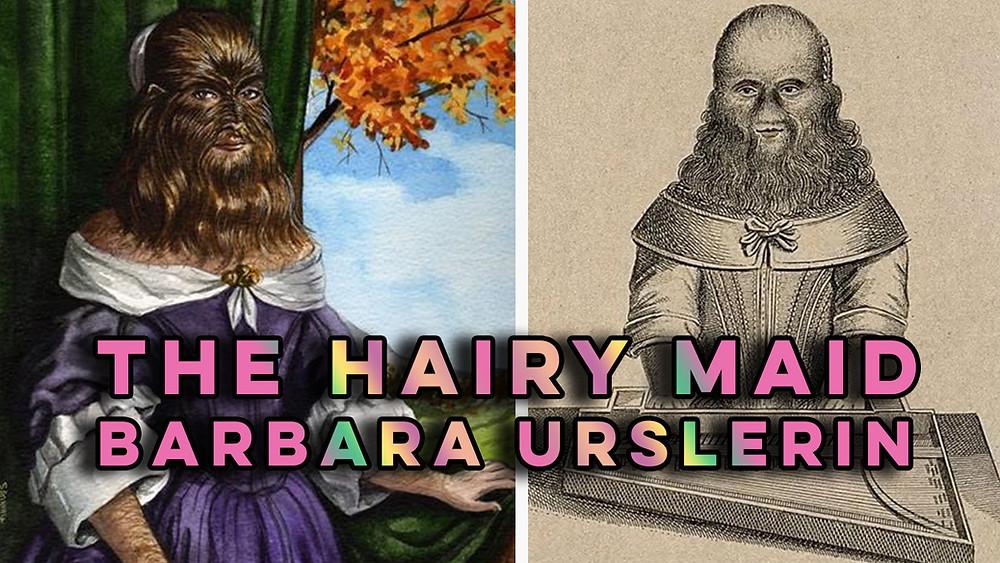A portrait and etching of Barbara Urslerin, a German 'freak show' star