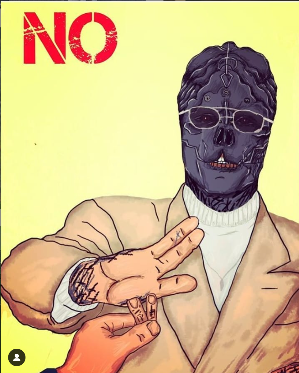 Arkon Skirrid drew this picture of the Black Alien rejecting two of his own surgically removed fingers