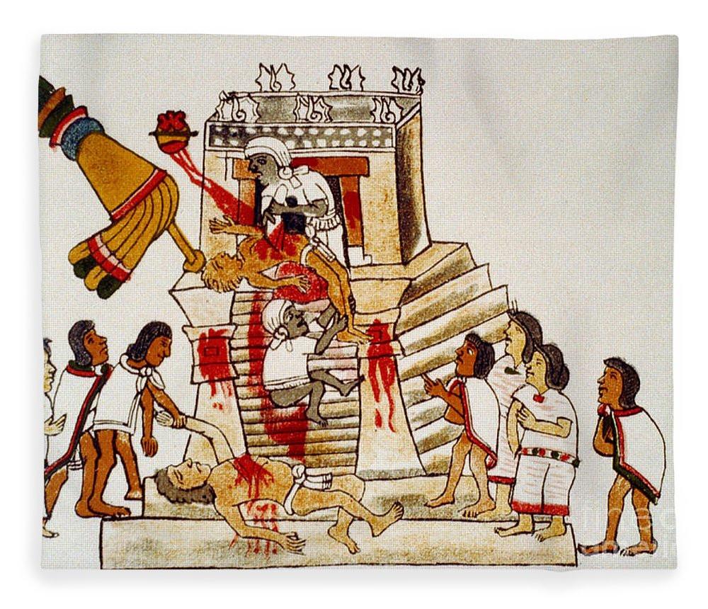 Ancient artwork depicting human sacrifice by an Aztec elder