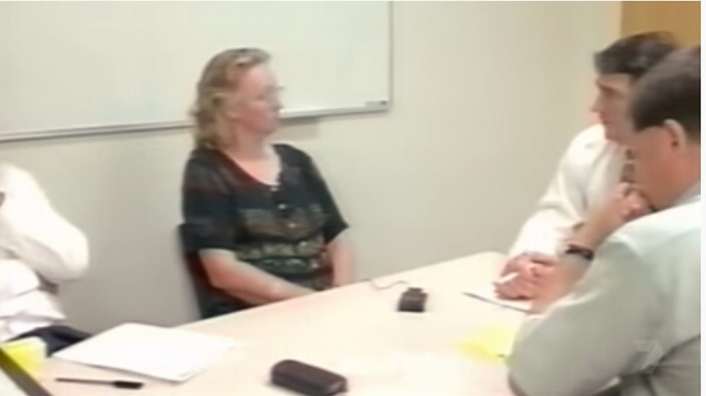 Kathy remained emotionless as she was interviewed by police