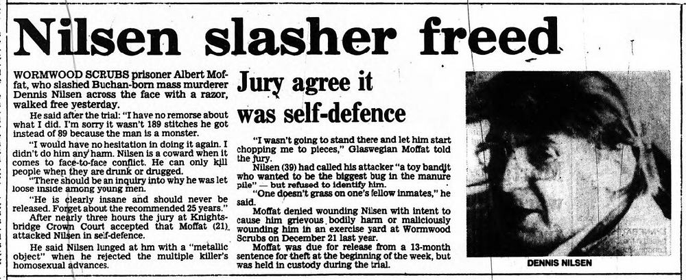 A newspaper article about the attack on Nilsen
