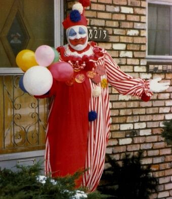 Gacy in clown mode pictured outside his house