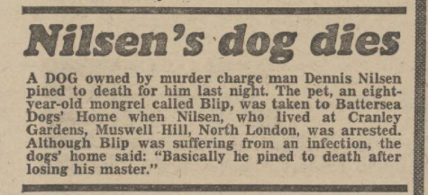 A news report from the Daily Mirror, 5 March 1983, reports Bleep's death