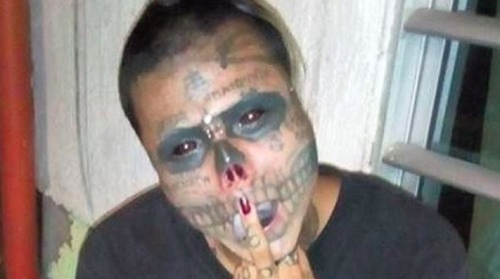 He has also inked the whites of his eyes black, making him look undead