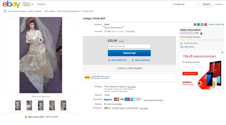 She put the doll for sale on eBay for £25