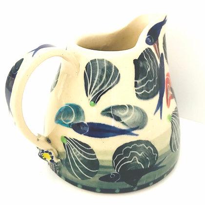 Pru Green Pottery - Small Jug Shell & Fish Design