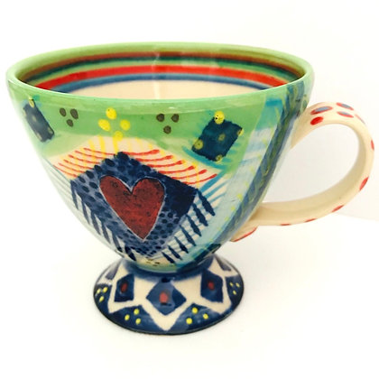 Pru Green Pottery - Colourful Bright Footed Mug