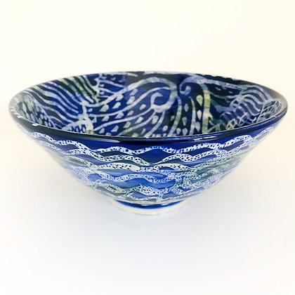 Pru Green - Blue and White Deep Bowl Floral Design
