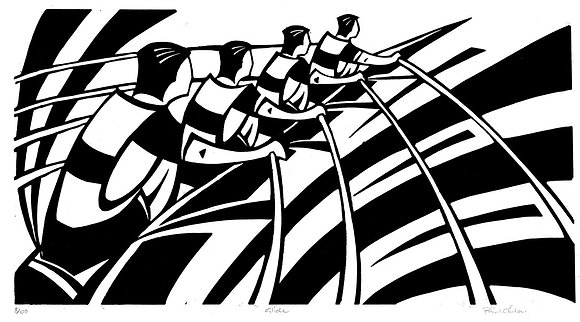 Black and white linocut of coxless fours mens rowing team by Paul Cleden