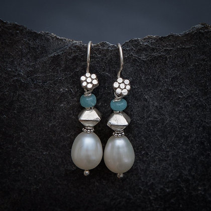 Freshwater Pearl, Amazonite and Sterling Silver Drop Earrings