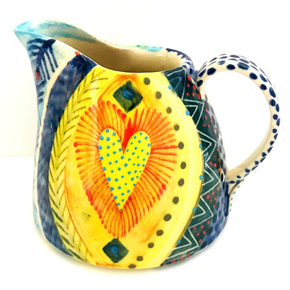 Pru Green - Colourful Small Can Heart Design Jug