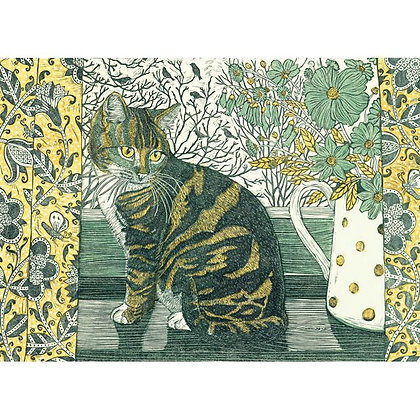 Greetings Card - Vanessa Lubach - Tabitha On The Windowsill