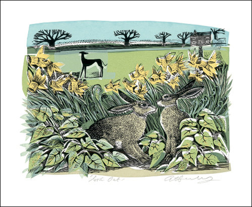 Angela Harding - Hares - Look Out - Card by Art Angels