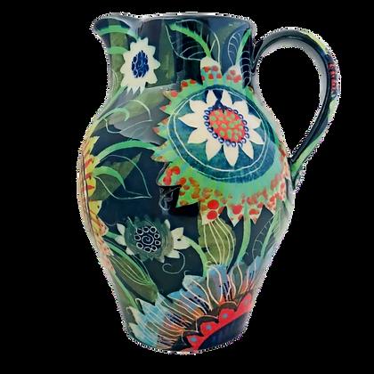 Pru Green Pottery Jug -Tall Large Floral Jug