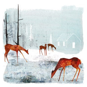 Deer - Woodland Clearing -Winter Printmakers Cards-Art Angels