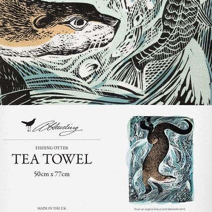 Angela Harding - Fishing Otter - Printed Tea Towel