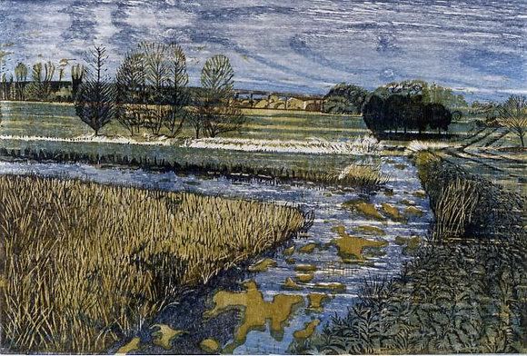 Ivy Smith - Whitlingham Marsh Woodcut