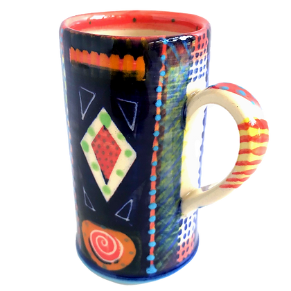Pru Green Pottery - Hand Decorated Espresso Coffee Cup