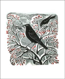 Angela Harding - Blackbirds and Berries Card by Art Angels
