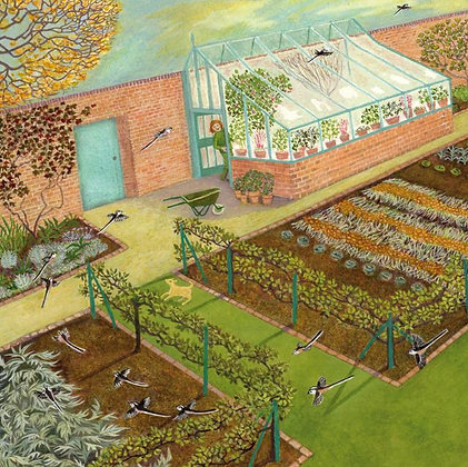 Walled Kitchen Garden Long Tailed Tits - Fine Art Greetings Card by Ellie Ling