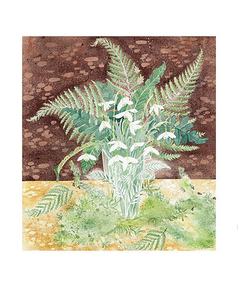 Angie Lewin - Snowdrops and Ferns - Art Angels Blank Card