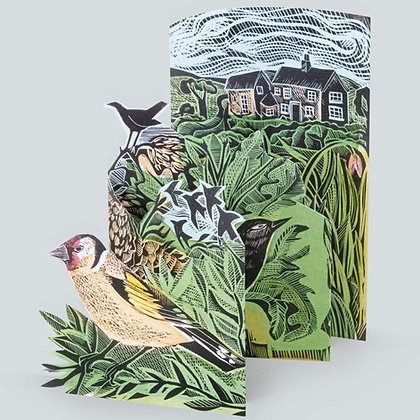 Garden Birds - by Angela Harding - 3D -Cut out Concertina Card