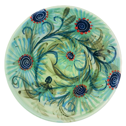 Pru Green - Small Footed Dish - Colourful Design
