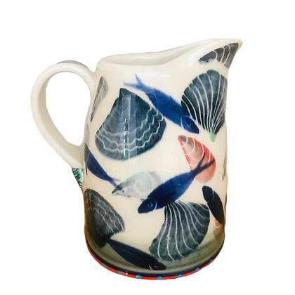 Pru Green - Small Jug Hand Decorated with Shell & Fish