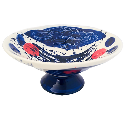 Simon Sharp Pottery - Abstract Small Decorated Footed Bowl