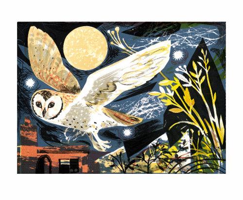 Mark Hearld - Card - Owl Flight / Blank Card Art Angels