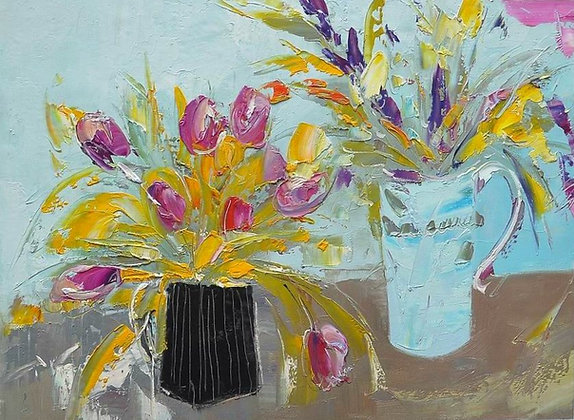 Julia Sutton - Two Vases full of Flowers