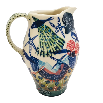 Pru Green - Large Jug Shell and Fish Decorated