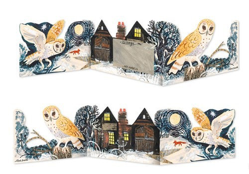 Mark Hearld - Owl -Die Cut Fold Out Card - Silent Flight - Art Angels