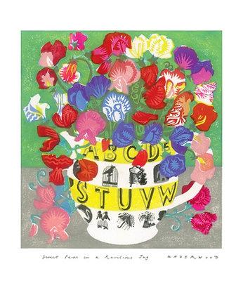 Sweet Peas in Ravilious Jug - Matt Underwood - Single Card