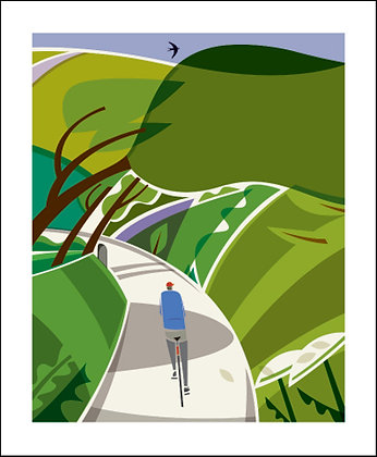 Cycling - Country Lane - Andrew Pavitt - Printmakers Card Art Angels