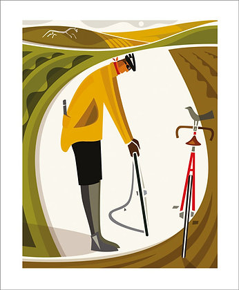 Cycling - The Fixer - Andrew Pavitt - Printmakers Card Art Angels