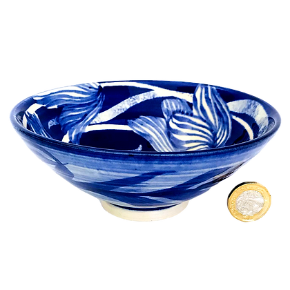 Pru Green Pottery - Bowl Blue and White Floral Design
