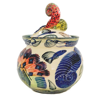 Pru Green Handmade Decorative Jar with Lid